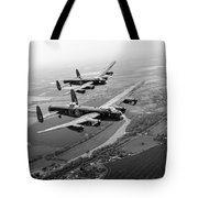 Two Lancasters Over The Upper Thames Black And White Version Tote Bag