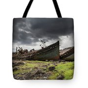 Two Large Boats Abandoned On The Shore Tote Bag