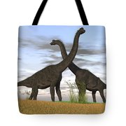 Two Large Brachiosaurus In Prehistoric Tote Bag by Kostyantyn Ivanyshen