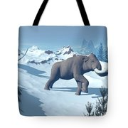 Two Large Mammoths Walking Slowly Tote Bag by Elena Duvernay