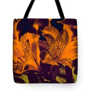 Two Lilies Gradient Ink Outline Tote Bag