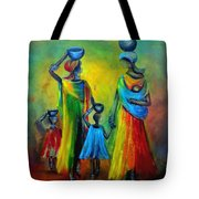 Two Little Girls Carrying Water Tote Bag