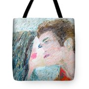 Two Lovers Kissing Tote Bag