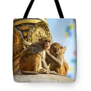 Two Macaques On Top Of Chorten Tote Bag