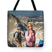 Two Male Hiker Stop To Look Tote Bag