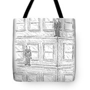 Two Men On Different Ledges Of A Building Tote Bag