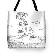 Two Men Sitting On An Island Tote Bag