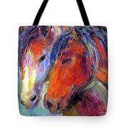 Two Mustang Horses Painting Tote Bag