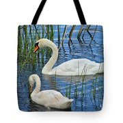 Two Mute Swans Tote Bag