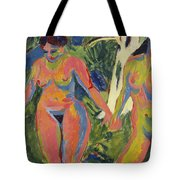Two Nude Women In A Wood Tote Bag