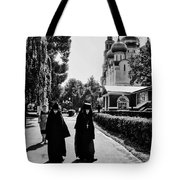 Two Nuns- Black And White - Novodevichy Convent - Russia Tote Bag