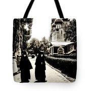 Two Nuns - Sepia - Novodevichy Convent - Russia Tote Bag