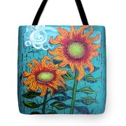 Two Orange Sunflowers Tote Bag