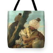 Two Orientals Seated Under A Tree Tote Bag