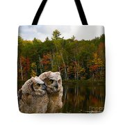 Two Owlets At A Lakeshore Tote Bag