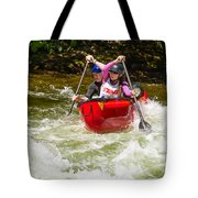 Two Paddlers In A Whitewater Canoe Making A Turn Tote Bag