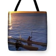 Two Paddlers In Sea Kayaks At Sunrise Tote Bag