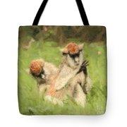 Two Patas Monkeys Erythrocebus Patas Grooming Tote Bag