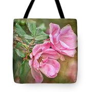 Two Pink Roses I  Blank Greeting Card Tote Bag