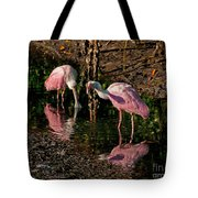 Two Pink Spoonbills Tote Bag