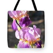 Two Purple Irises Tote Bag
