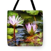 Two Purple Water Lotus Tote Bag