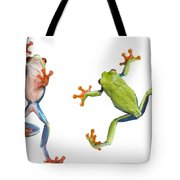 Two Red Eyed Tree Frogs Tote Bag