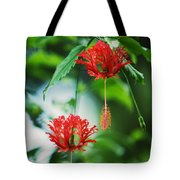 Two Red Hibiscus Tote Bag
