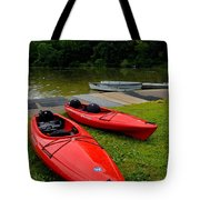 Two Red Kayaks Tote Bag