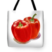 Two Red Peppers Tote Bag