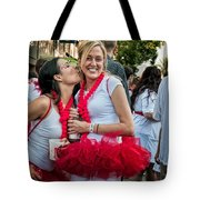 Two Red Tutus At Running Of The Bulls Tote Bag