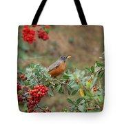 Two Robins Eating Berries Tote Bag
