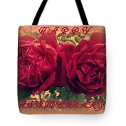 Two Roses. Happy Anniversary Tote Bag