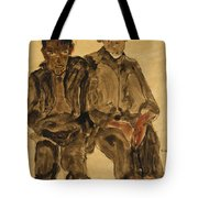 Two Seated Boys Tote Bag