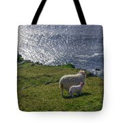 Two Sheep On The Cliffs At Sleive League - Donegal Ireland Tote Bag