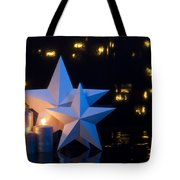Two Stars In Front Of Dark Background Tote Bag