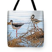 Two Stilts At The Pond Tote Bag