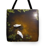 Two Swans With Sun Reflection On Shallow Water Tote Bag
