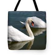 Two Swimming Swans Tote Bag