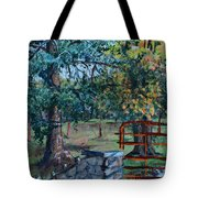 Two Trees And A Gate Tote Bag