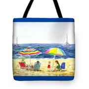 Two Umbrellas On The Beach California  Tote Bag