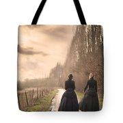 Two Victorian Ladies Walking On A Cobbled Path Tote Bag