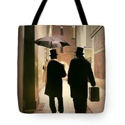 Two Victorian Men Wearing Top Hats In The Old Alley Tote Bag