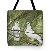 Two White Doves Tote Bag