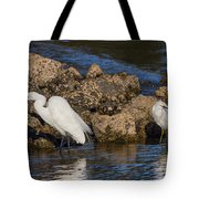 Two White Herons And A Coot Tote Bag