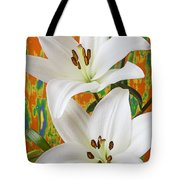 Two White Lilies Tote Bag