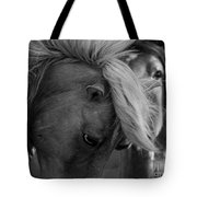 Two Wild Stallions Close Tote Bag
