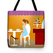 Two Woman Friends Having Coffee Tote Bag