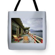 Two Women On The Deck Of A House On A Lake Tote Bag