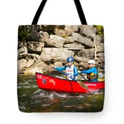 Two Women Paddling A Whitewater Canoe Tote Bag